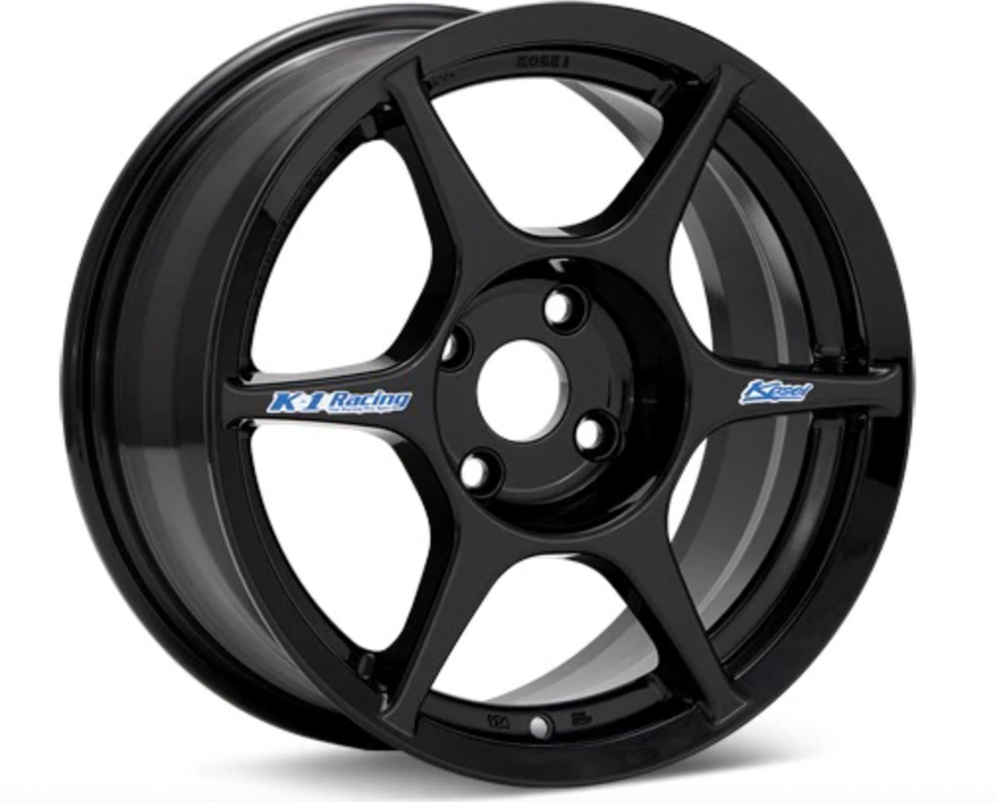 Kosei K1 Racing 15x7 +38 4x100 Gloss Black Painted
