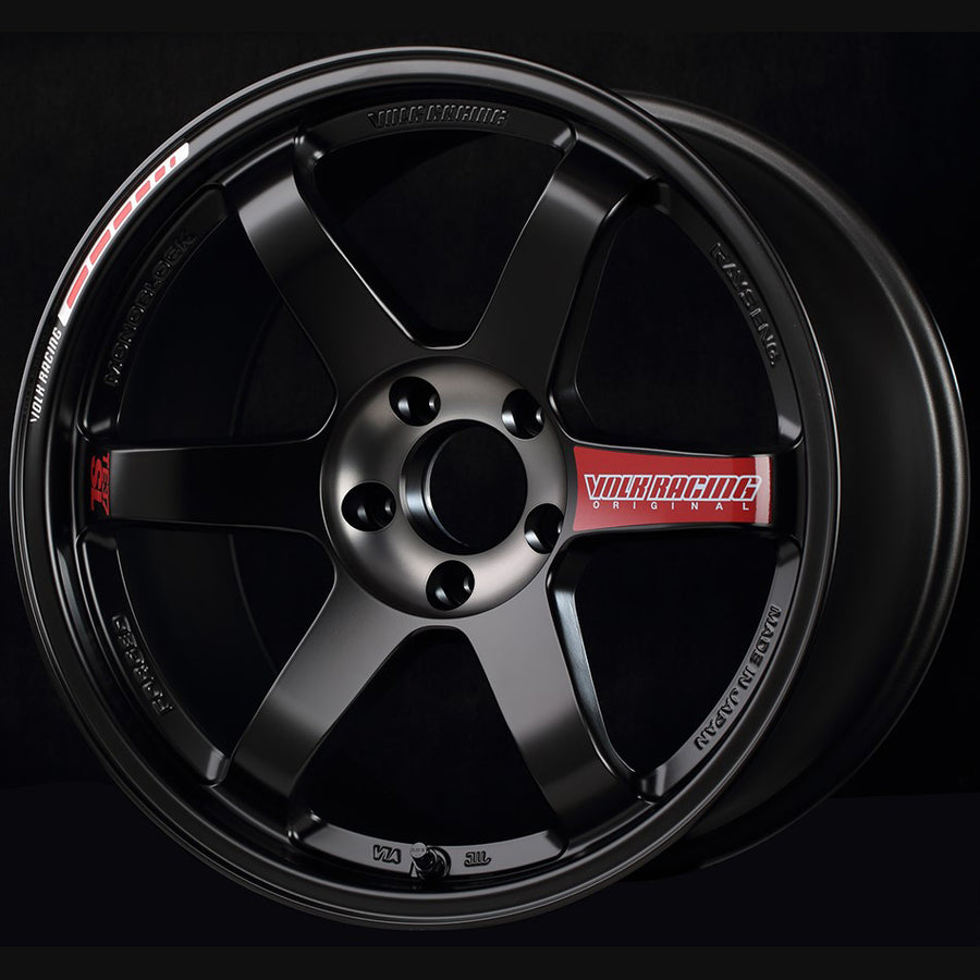 Volk Racing TE37SL Black Edition III Wheel - 19x10.5 / Offset +34 / 5x112 (Pressed Black / Rim REDOT)