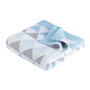 Cot Blanket - Blue Triangle