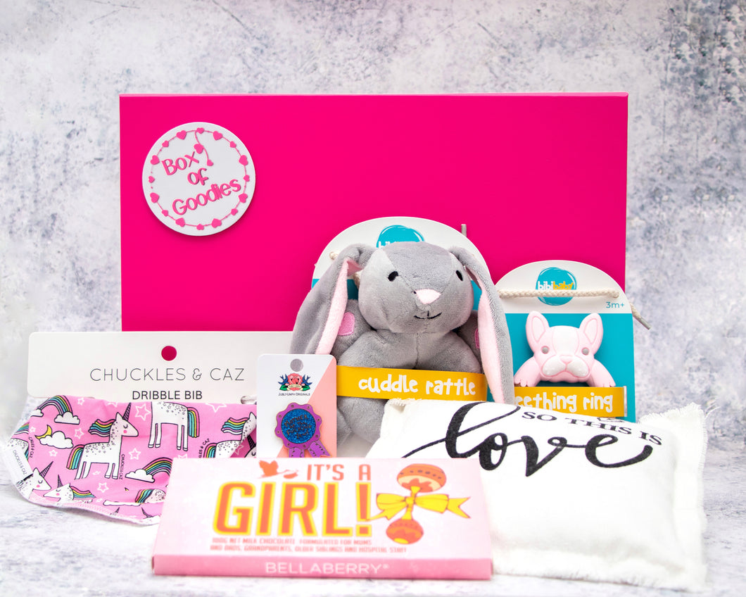 Box Of Pink Baby Goodies