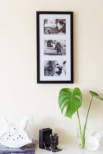 "Solid Wood 3-Aperture Frame + 7x5"" Photographic Prints"