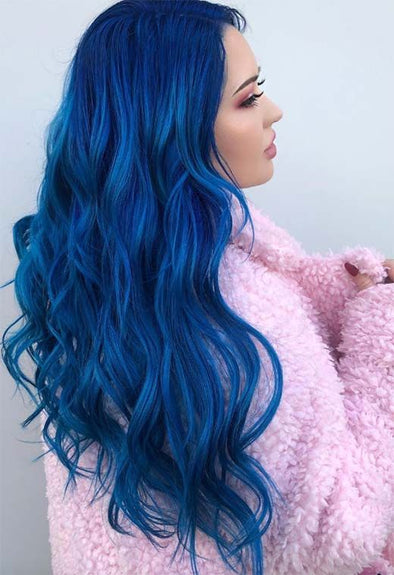 Blue Wigs Lace Front Hair Short Dark Blue Hair