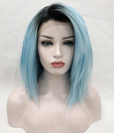 Blue Wigs Lace Front Hair White Blue Hair