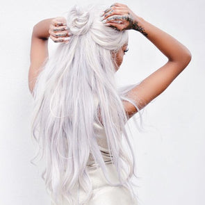 Gray Wigs Lace Frontalal Wigs yellow white hair