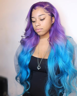 Blue Wigs Lace Front Hair Sky Blue Hair Colour