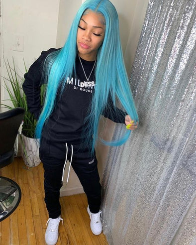 Blue Wigs Lace Front Hair Turquoise Blue Hair
