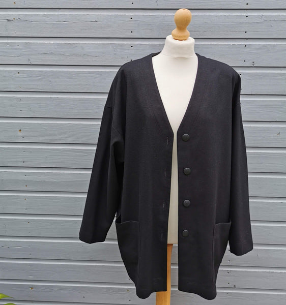 black virgin wool throw on  jacket