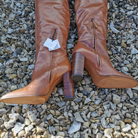 tan leather over knee boots