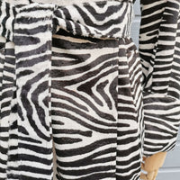 fake fur zebraprint coat