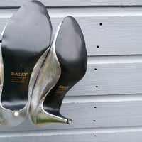vintage bally silver sandals