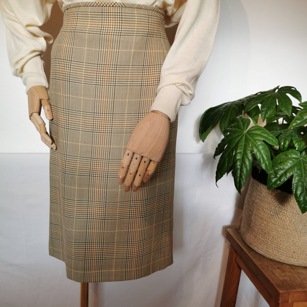 vintage escada caramel checked skirt