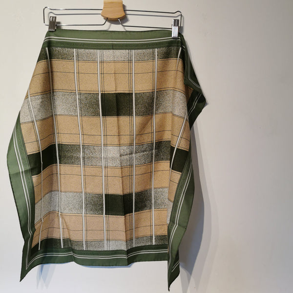 vintage green checked scarf
