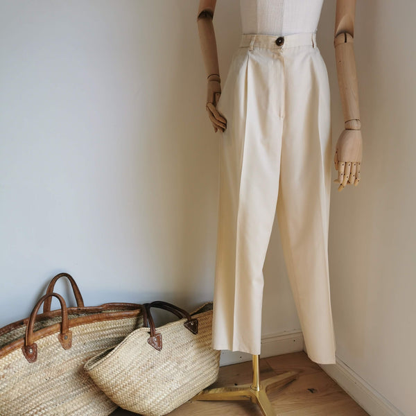 vintage cream high waist trousers