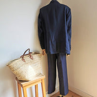 irish indigo linen suit