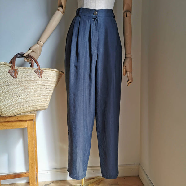 vintage navy silk trousers