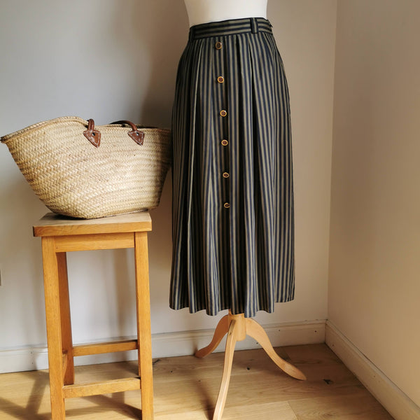 vintage silk stripe skirt(small)