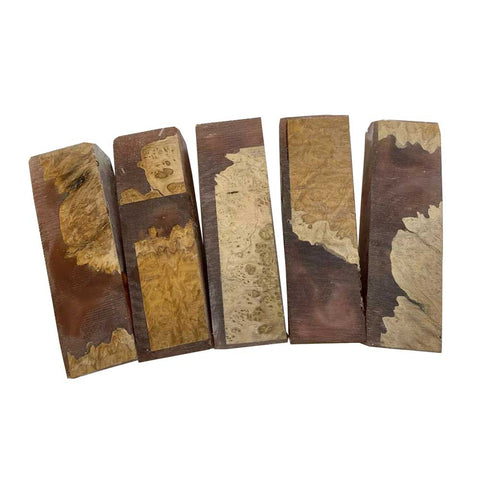 "Premium Stabilized Brown Mallee Hybrid Burl Knife Blanks #506, 1.5"" x 1"" x 5"" Free Shipping."