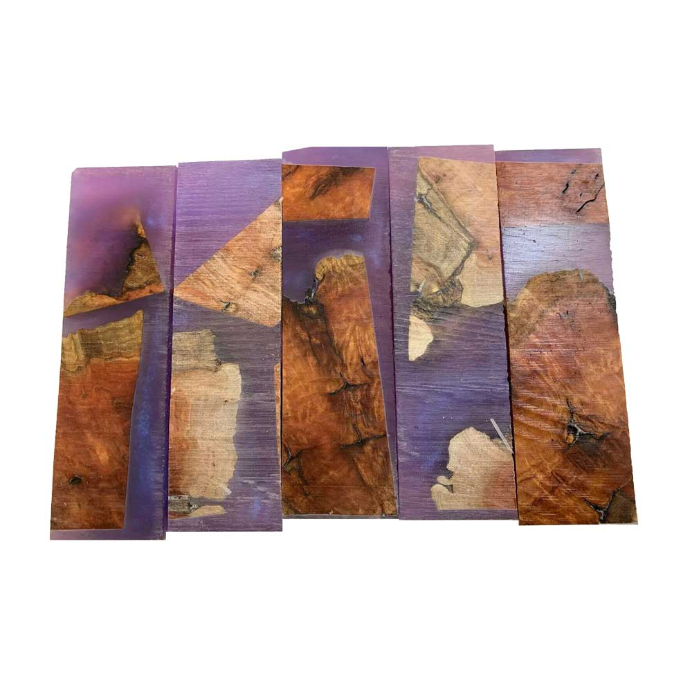 "Premium Stabilized Red Mallee Hybrid Burl Knife Blanks #507, 1.5"" x 1"" x 5"" Free Shipping - Exotic Wood Zone"