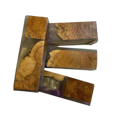 "Premium Stabilized Brown Mallee Hybrid Burl Knife Blanks #510, 1.5"" x 1"" x 5"" Free Shipping - Exotic Wood Zone"