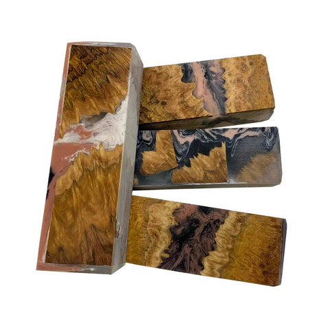 "Premium Stabilized Brown Mallee Hybrid Burl Knife Blanks #513, 1.5"" x 1"" x 5"" Free Shipping"