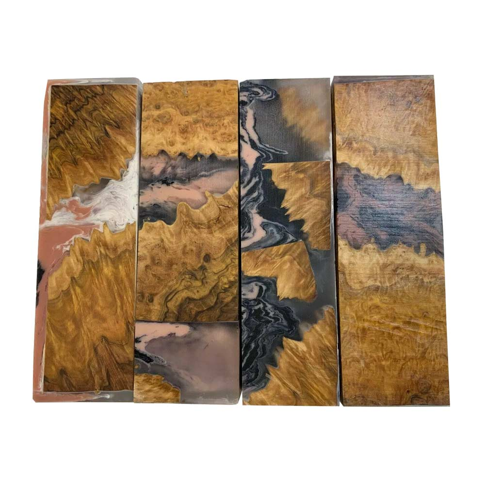 "Premium Stabilized Brown Mallee Hybrid Burl Knife Blanks #513, 1.5"" x 1"" x 5"" Free Shipping - Exotic Wood Zone"