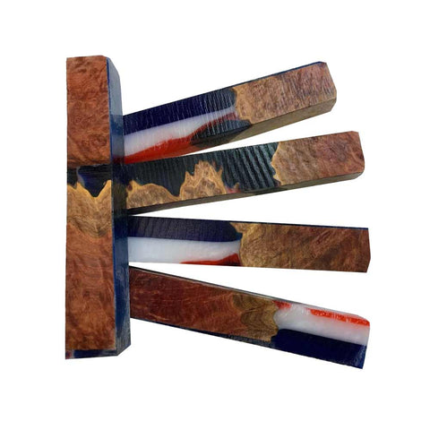 "Premium Stabilized Red Mallee Hybrid Burl Pen Blank #607, 3/4"" x 3/4"" x 5"" Free Shipping - Exotic Wood Zone"