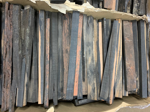 "Box of Exotic Gaboon Ebony Wood Cutoffs with Size 21"" x 1-1/2"" to 2"" (Lot#06) - Exotic Wood Zone"