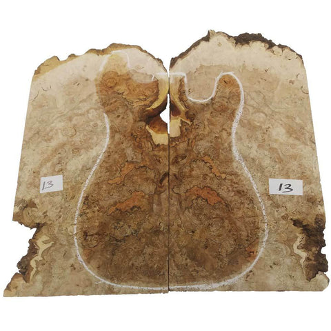 Maple Burl for Electric Guitar #13- 17 x 22 x 1 1/4 Inches - Exotic Wood Zone