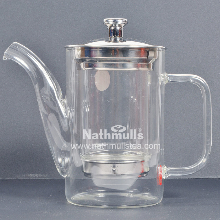 PREMIUM STILT GLASS TEA POT WITH TRANSPARENT INFUSER (STEEL MESH AT BASE)
