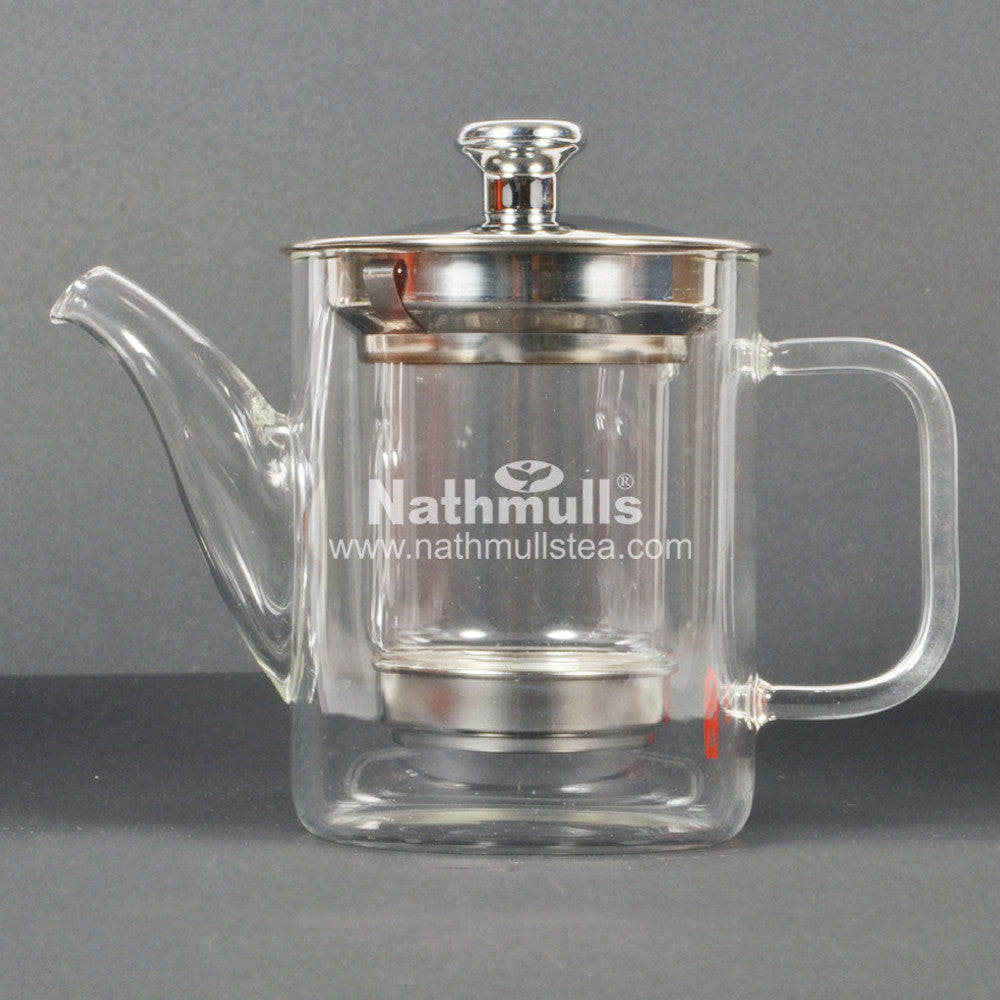 PREMIUM STILT GLASS TEA POT WITH STEEL INFUSER (SMALL)