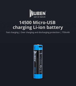 WUBEN ABF750 14500R 750mAh 3.7V rechargeable Li-ion battery with Micro-USB charging port