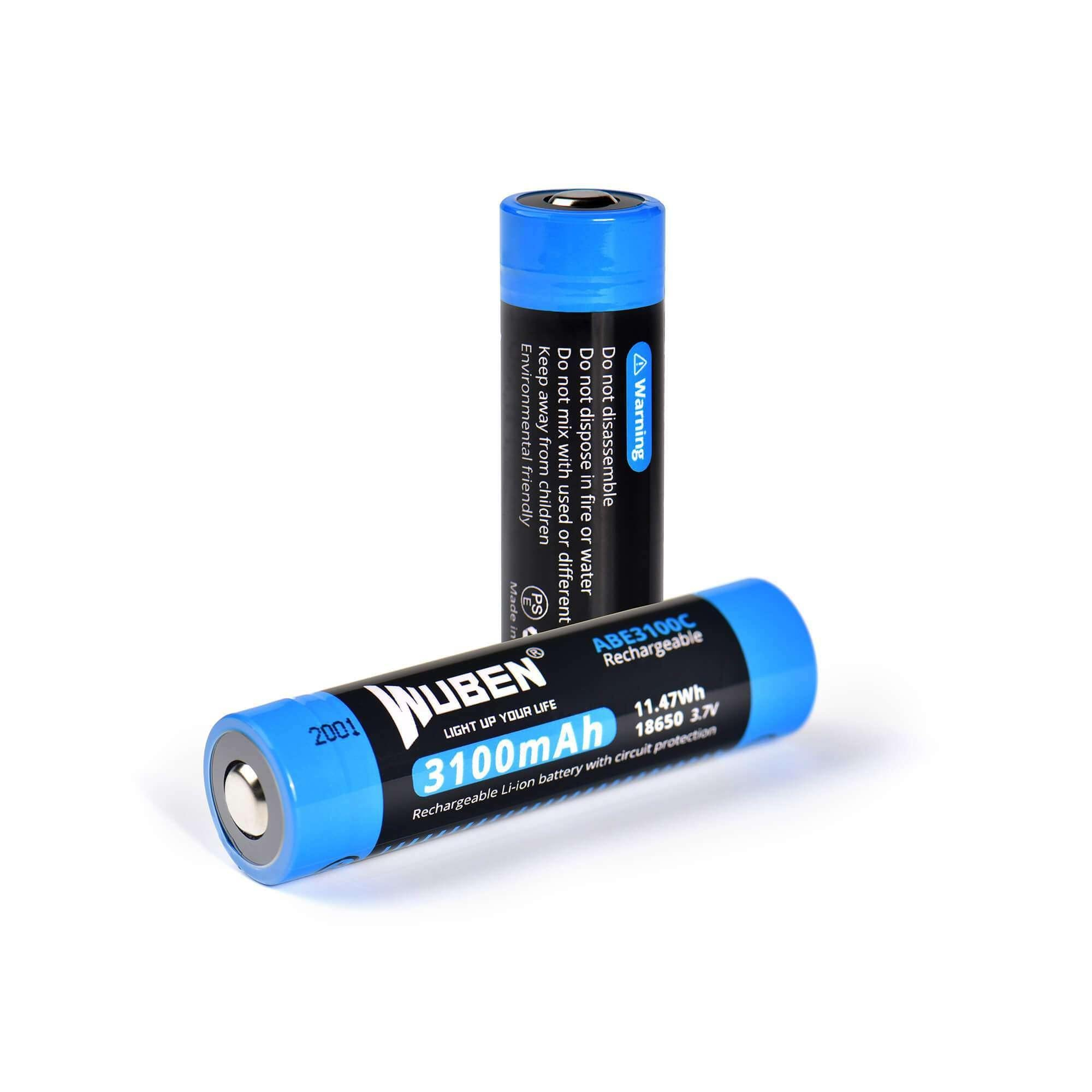 WUBEN ABE3100C 18650 3100mAh rechargeable Protected lithium battery