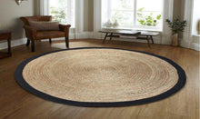 Load image into Gallery viewer, Round Cotton Jute with Black boarder 120cm