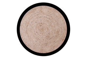 Round Cotton Jute with Black boarder 120cm