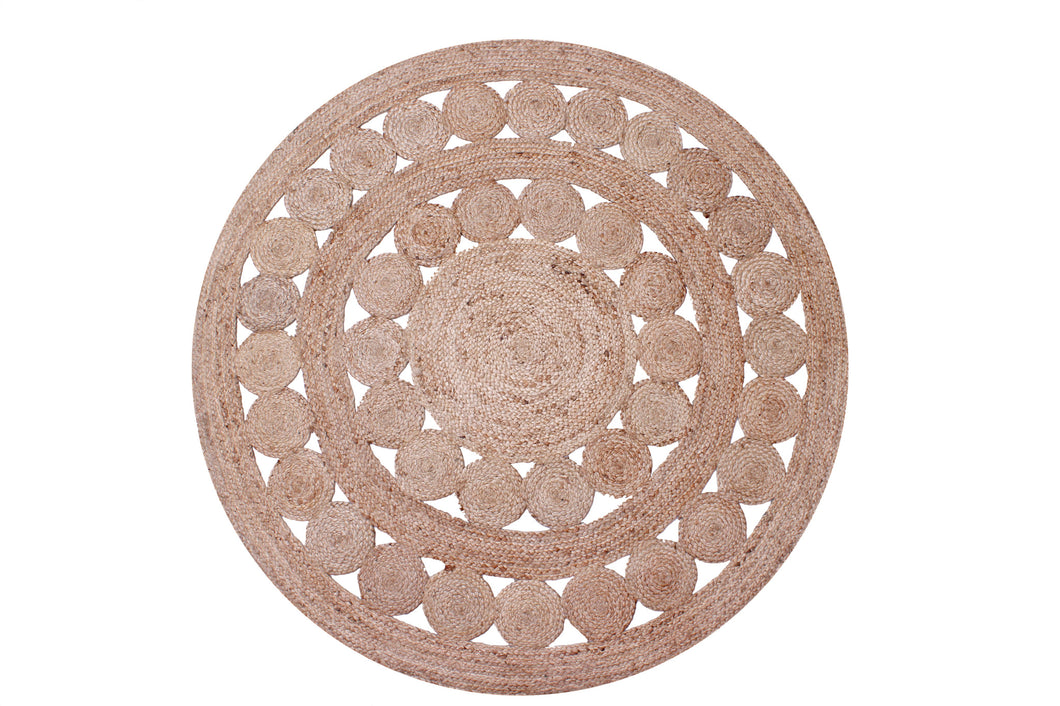 Jute Circle Braided Rug Round 120cm