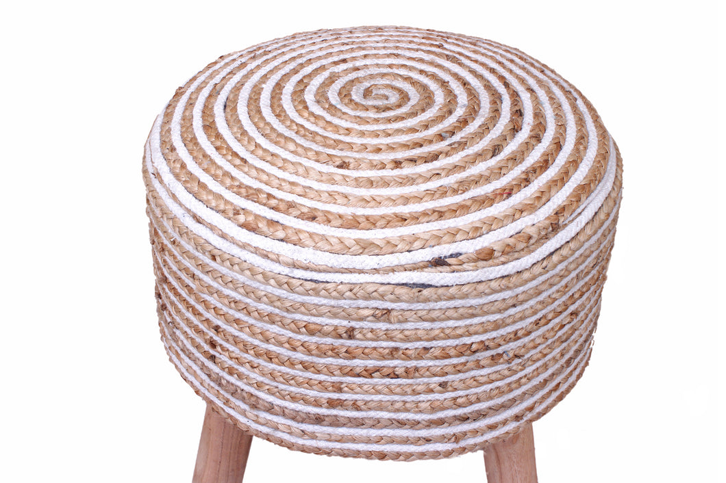 Jute Pouf with Legs