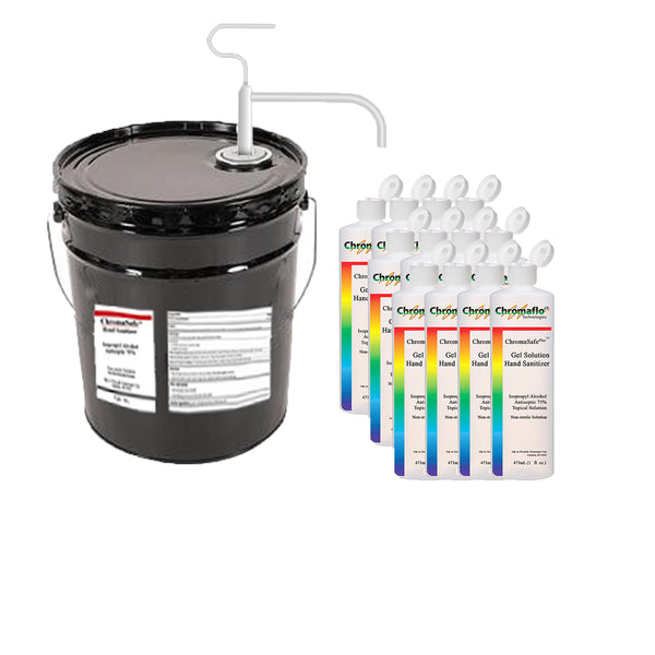 ChromaSafe Liquid Pail with Pump and Case of Filled Bottles