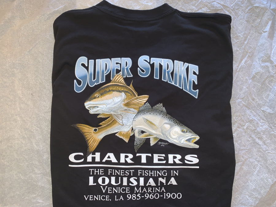 BLACK LONG SLEEVE T-SHIRT WITH REDFISH AND SPECKLED TROUT LOGO