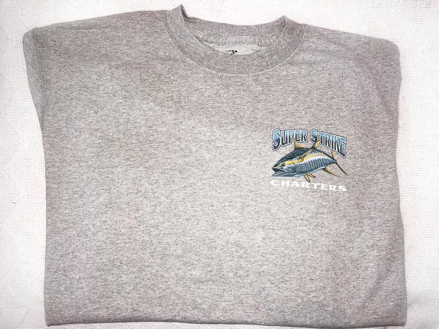 HEATHER GREY LONG SLEEVE T-SHIRT WITH YELLOWFIN LOGO