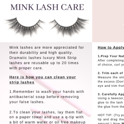 Care for your 3D Mink Lashes- Free Download