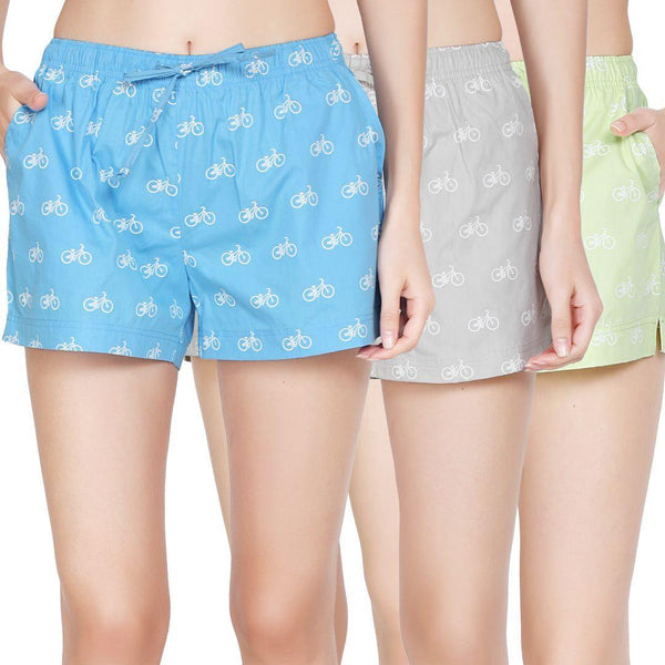 Pack of 3 : Printed Women's Shorts (Cycle Print) - The Cotton Company - Women - Shorts