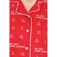 Women's Sleepwear Pyjama Sets (Coffee Print, Red) - The Cotton Company - Women - Pyjama Set