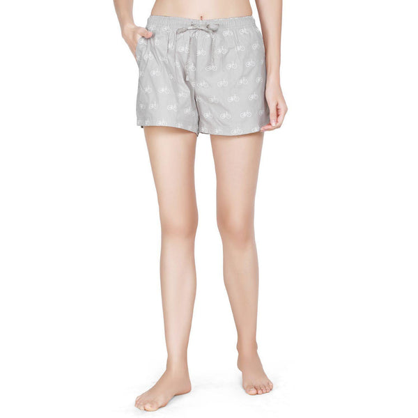 Printed Women's Shorts (Cycle Print, Grey) - The Cotton Company - Women - Shorts