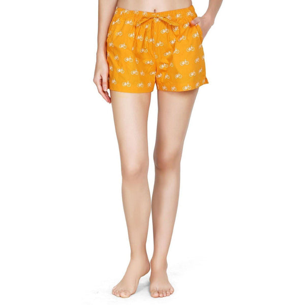 Printed Women's Shorts (Cycle Print, Orange) - The Cotton Company - Women - Shorts