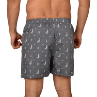 Printed Men's Boxer Shorts (Hawaii Print, Grey) - The Cotton Company - Men - Boxer Shorts