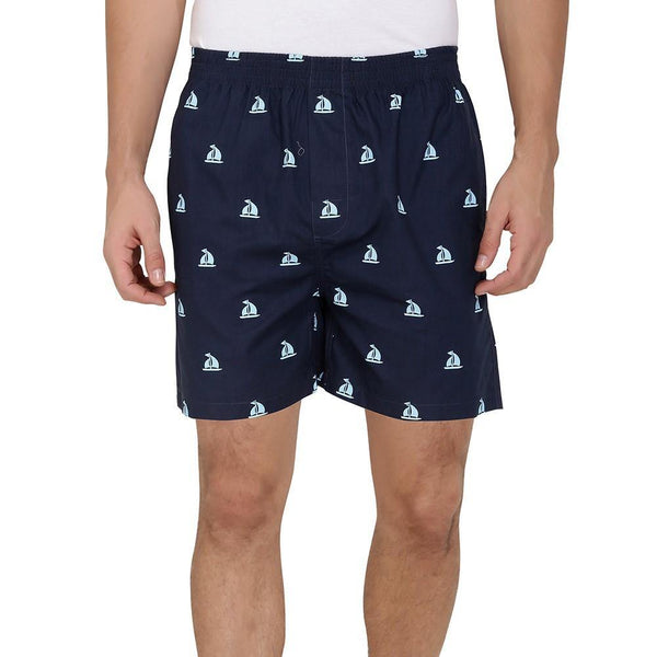 Printed Men's Boxer Shorts (Boat Print, Navy) - The Cotton Company - Men - Boxer Shorts