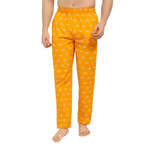 Printed Men's Lounge Pants (Cycle Print, Orange) - TCC - The Cotton Company