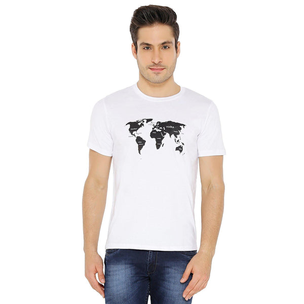Printed Cotton Round Neck T-Shirt for Men (World Map, White) - The Cotton Company - Men - Round Neck T-Shirt