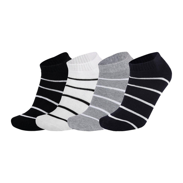 Pack of 4: Cotton and Spandex Terry Cushioning Stripe Ankle Socks - The Cotton Company - Socks