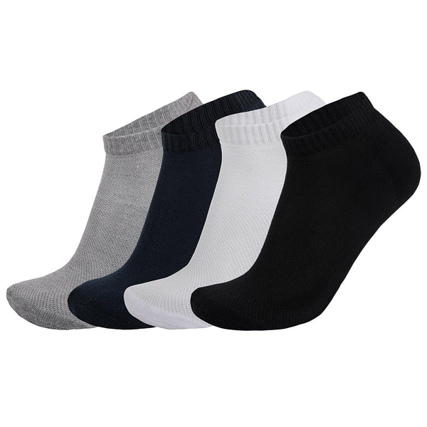Pack of 4: Luxury Terry Cushioning and Spandex Solid Ankle Socks - The Cotton Company - Socks